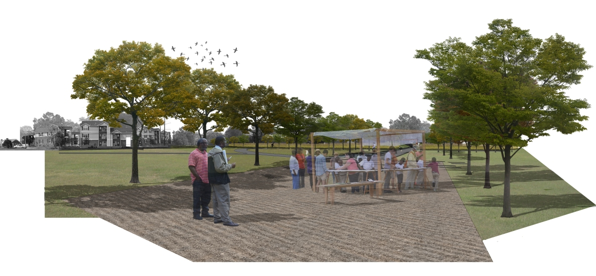 Fews School, drawn by Felipe Palacios to show mobile studio integrated into school grounds redesign